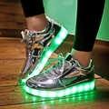 2018 ユーロ 30-44 子供のスニーカーグローイングファッション USB 充電式ライトアップ LED 靴子供発光のためのスニーカー少年少女