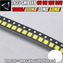 Alto brilho smd led 2835 1w branco 100 pçs/lote 6v 9v 18v 36v 150ma/100ma/30ma/60ma/