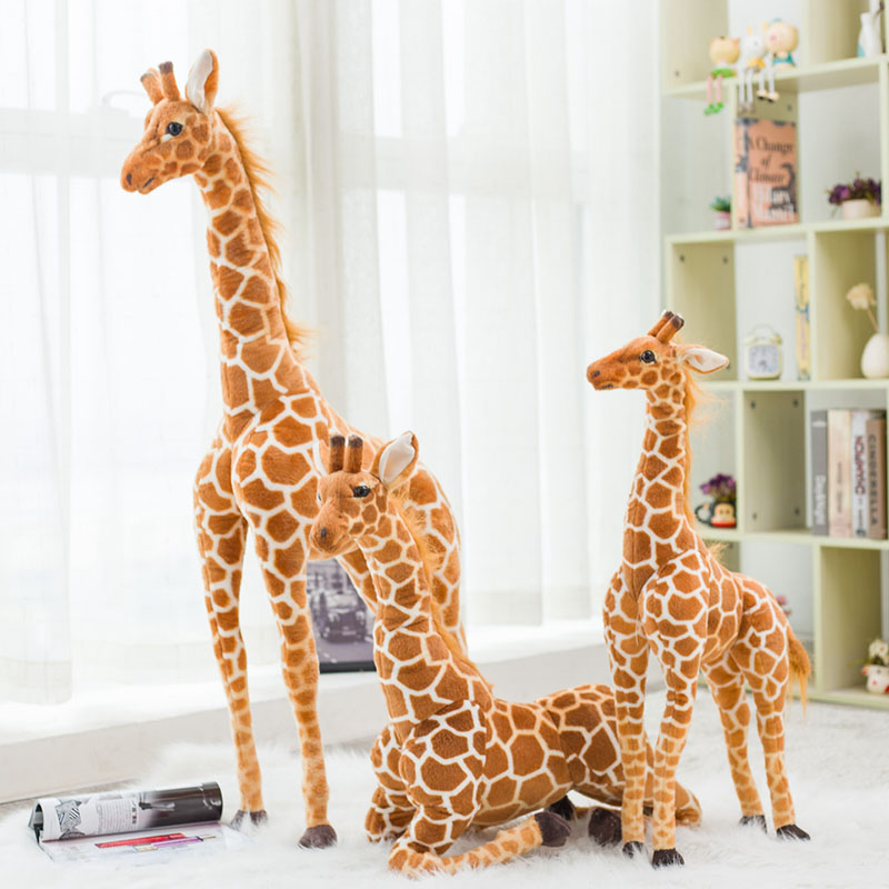 Lifelike Giraffe Plush Toys Real Life Cute Stuffed Animal Soft Giraffe Doll Big Giant Size Birthday Gift Kids Toy