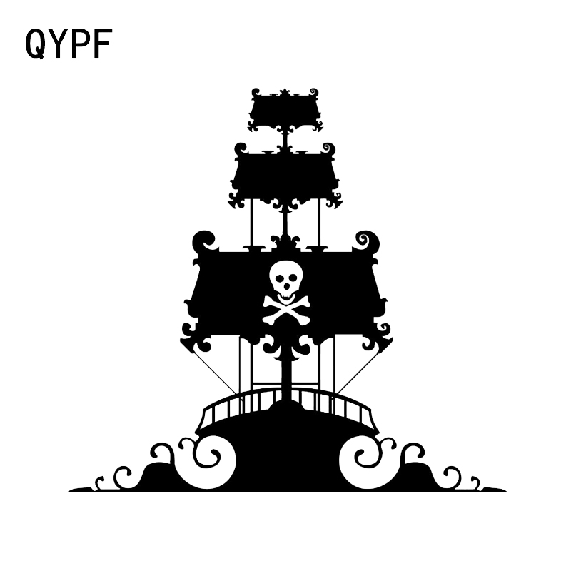 QYPF 14.3*13.2CM Mysterious Pretty Pirate Ship Ocean Sailor Decor Car Styling Sticker Vinyl Accessories Sport C16-1076