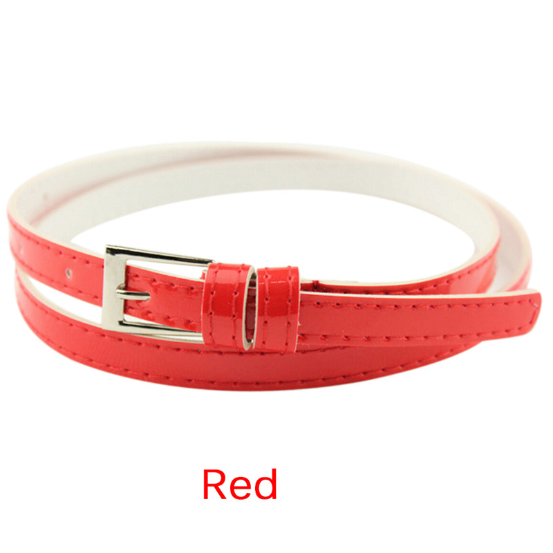 Women Laies Fashion Narrow Skinny Thin Patent Leather Buckle Waist Belt PVCA