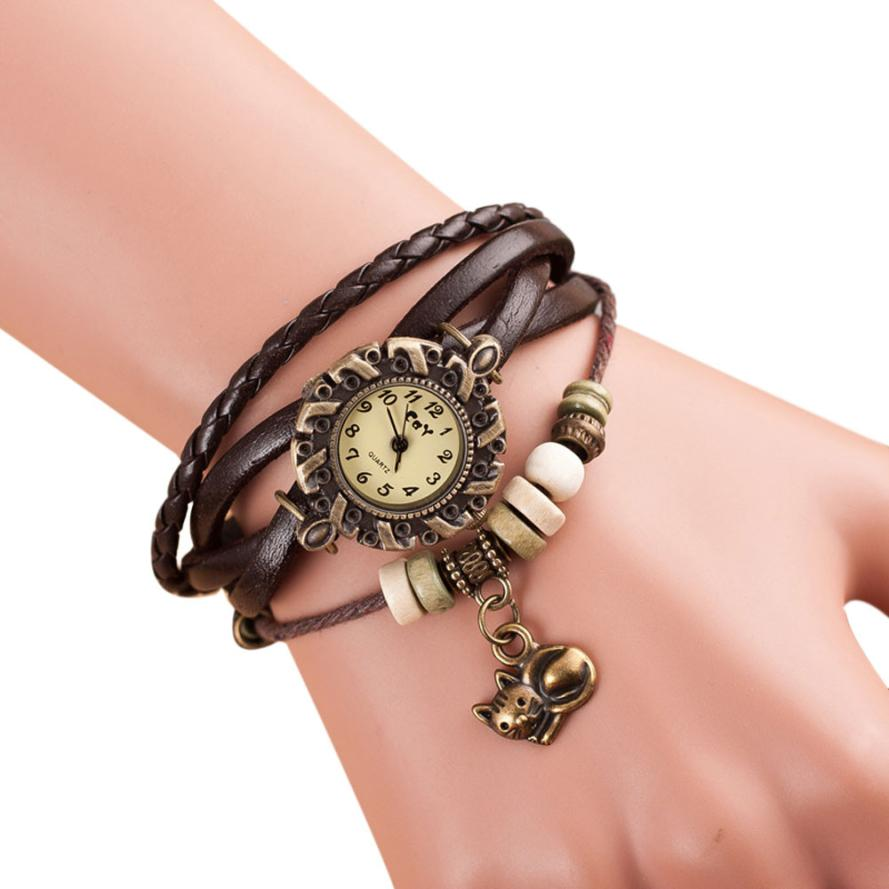 где купить Relogio Feminino Womens Watches Watch Dropshipping Gift Quartz Weave Around Leather Cat Bracelet Lady Woman Wrist August1 по лучшей цене