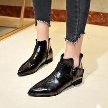 2018新ファッション靴女性puレザーブーツ固体ジッパー厚いmartinasブーツ女性屋外指摘つま先ブーツ