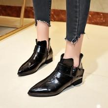 Botas de cuero sintético con cremallera para mujer, zapatos de punta redonda, botas en punta gruesa, para exteriores, 2018