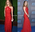 Globe Awards Evening Gown Appliqued beading 2016 Party Dress Red Sleeveless A-Line Celebrity Dresses Golden 2354