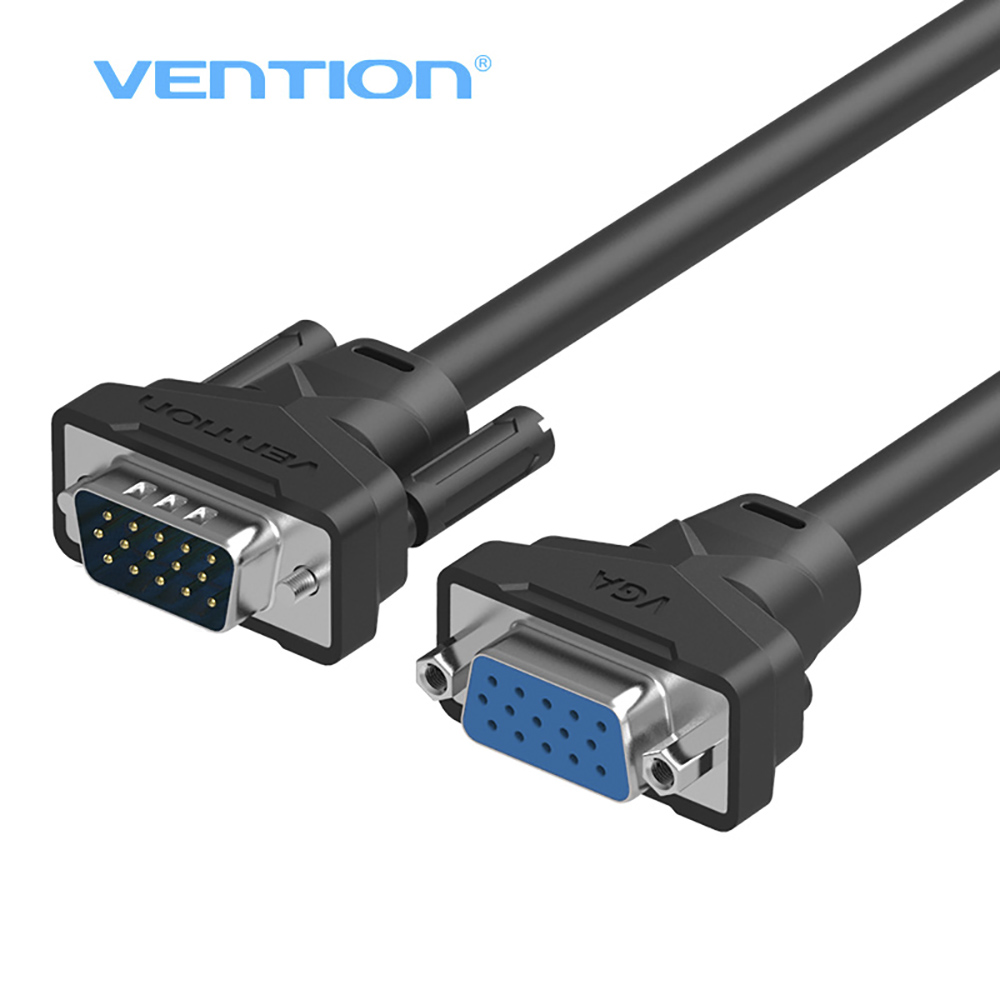 Vention Extension VGA to VGA Cable Gold-Plated 2m 3m High Premium VGA Black Cabo Male to Female (15holds to 15pin)