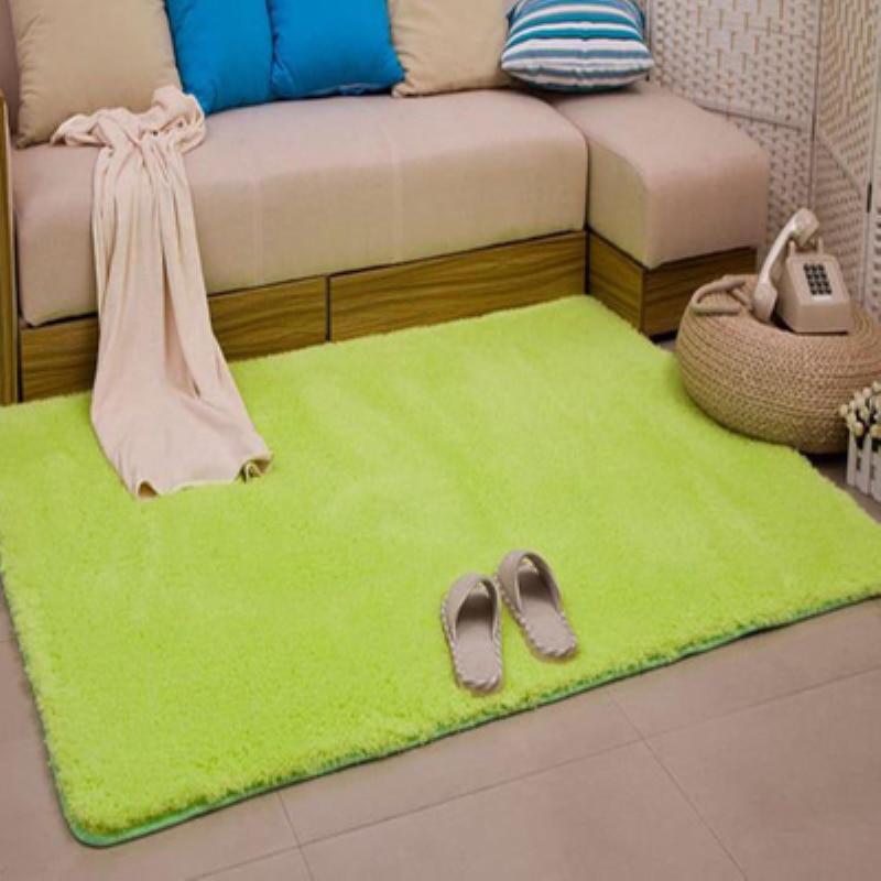 Nouvelle mode tapis moelleux vert anti-dérapant Shaggy zone salon maison chambre tapis épais corail velours tapis de sol LOSICOE-S10