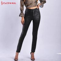 Stretch Black PU Leather Winter pants Women Elasticity Women's high waist Warm Pants woman skinny Pencil PU Leather pants #46