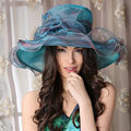 Ladies Large Brimmed Kentucky Derby Hats Blue Flowers Church Hats For Women Spring Hats