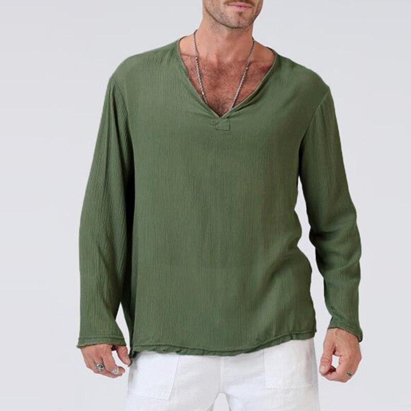 Streetwear Cotton Long Sleeve Men Tee Tops Tshirts V-Neck Masculina Joggers T-Shirts Oversize 3XL Basic Color HipHop Autumn 2018