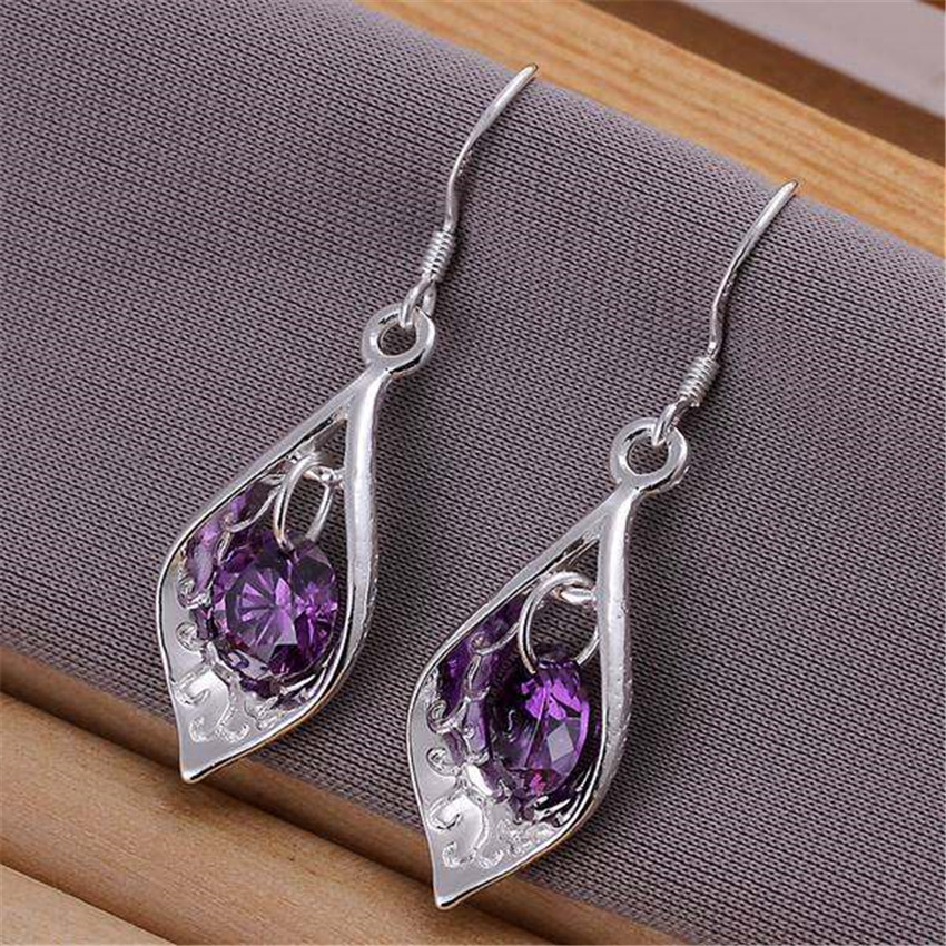 silver Plated nice crystal jewelry earring Women lady wedding party cute nice earrings hot selling fashion jewelry E207