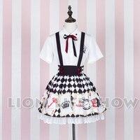 Summer Women Lolita Alice Poker Short Sleeve Blouse Suspender Skirt Set 2pcs