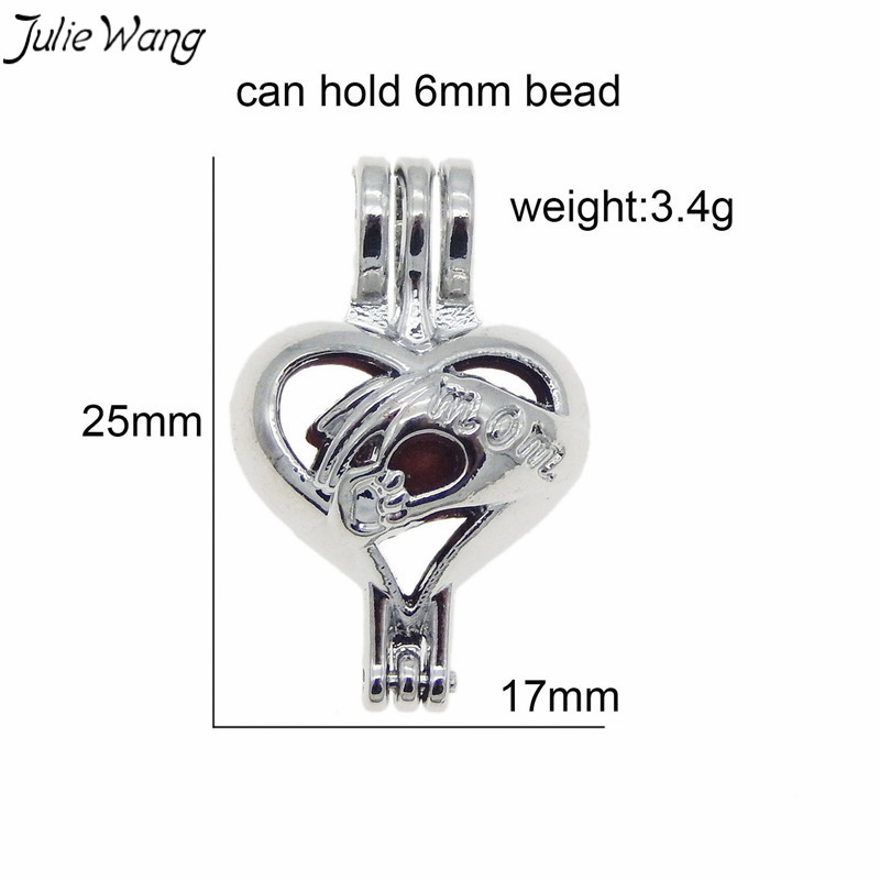 Julie Wang 1PC Hollow Heart Bead Cage Locket Mom Holding Baby Hand Openable Pendant Charm DIY Scented Family Statement Jewelry