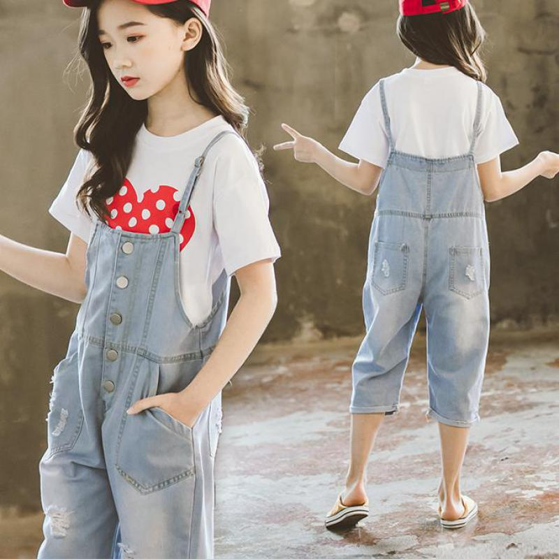 Summer Clothing Set For Girls Costume 2pcs Child Clothes 6 8 12 14 Years T-shirts + Denim Jumpsuit Teen Kids Clothing Sets Suits