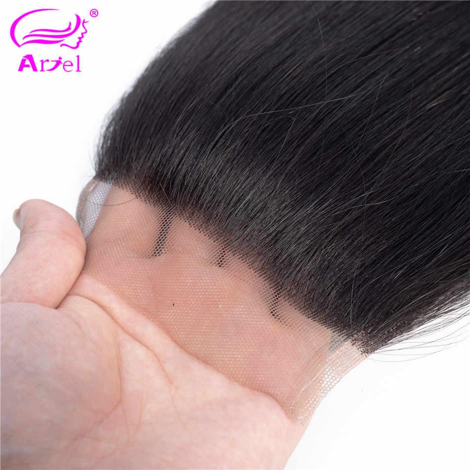 Ариэль 100% человеческие волосы малазийские прямые 8-22 дюймов 4*4 Кружева закрытие натуральный цвет не завитые здоровые волосы 1 шт./лот Бесплатная доставка
