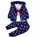 3 unids/set primavera otoño del algodón del bebé ropa de la muchacha de los muchachos muchachas de la historieta ropa de la camiseta + coat + pants ropa de los niños traje
