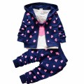 3pcs/set spring autumn cotton baby clothing girl boys kids cartoon girls clothes  t-shirt + coat + pants childrens clothing suit