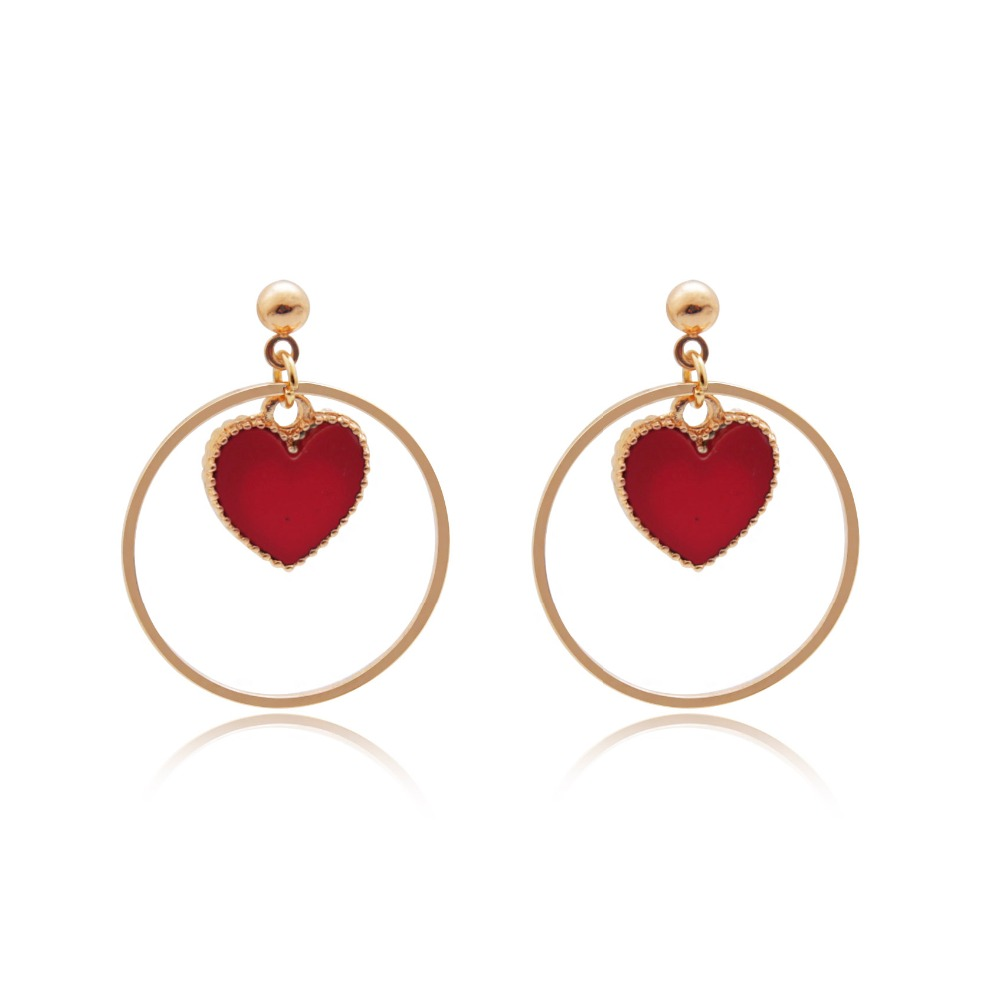 Stud Earring Red Heart Shape Inside Circle Vintage Earrings For Women  Jewelry Brincos 6c4030(china