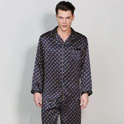 Высококачественная Мужская пижама из натурального шелка с длинными рукавами, пижамный комплект со штанами для всех сезонов 100%, шелковая пи...