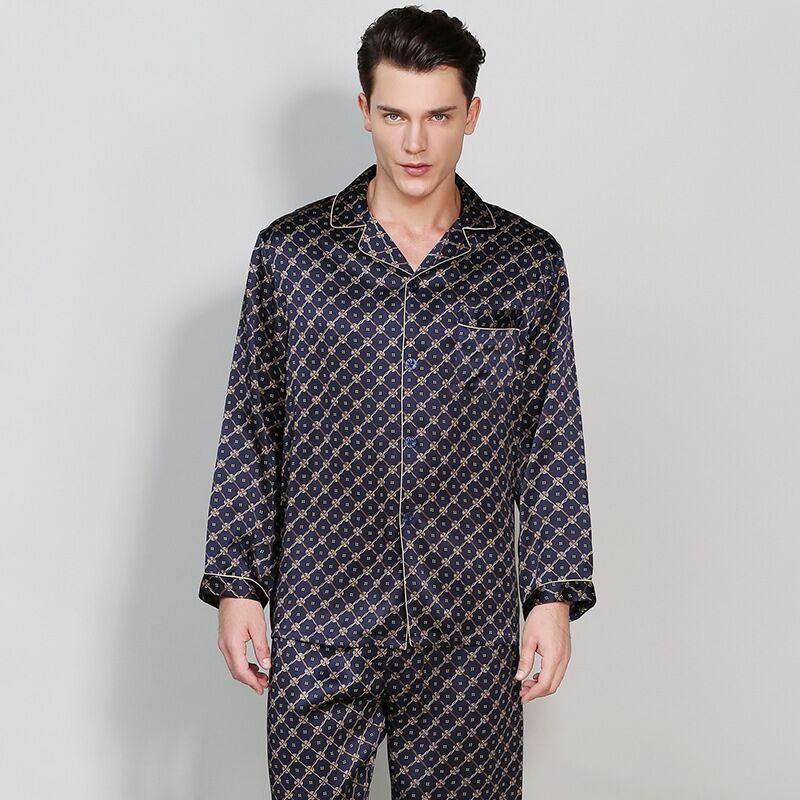 High-Grade Real Silk Men Pajamas Long-Sleeved Pajama Pants Sets For All Season 100% Mulberry Silk Pijama Masculino Pyjama Suit