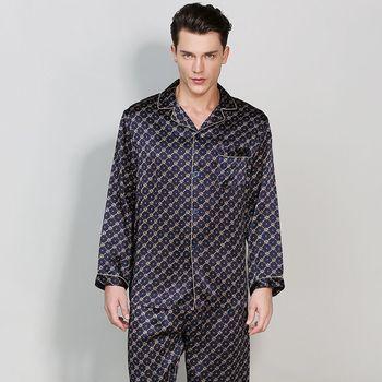 Wysokiej jakości prawdziwy jedwab piżama męska z długim rękawem spodnie od piżamy zestawy na wszystkie pory roku 100 morwy jedwabiu Pijama Masculino piżama garnitur tanie i dobre opinie COLOR OF HEART Pełna Stałe Skręcić w dół kołnierz S-T9016 Przycisk Elastyczny pas REGULAR Mężczyźni Large Size
