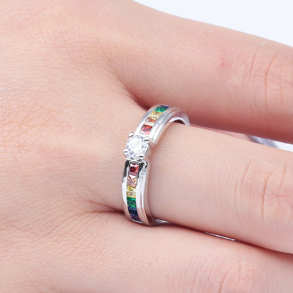fashion colorful square zircon finger Rings wholesale new design ...