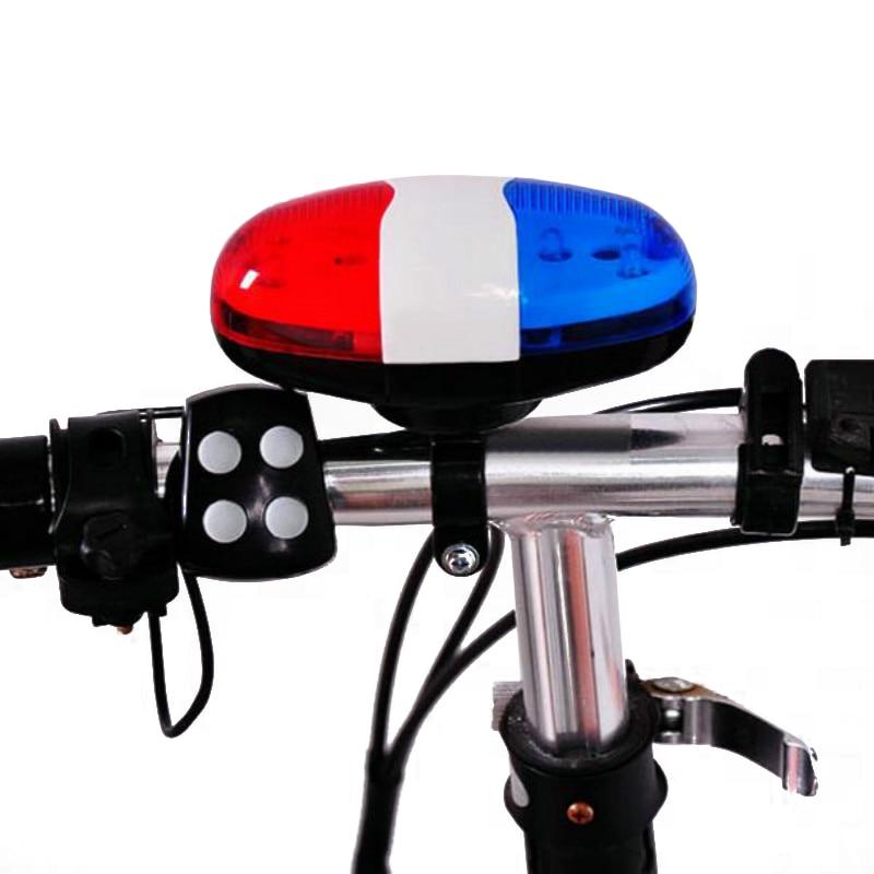 6 LEDs 4 Tone Sounds Bell Police Car Light Electronic Horn Siren for Kid/'s Bike
