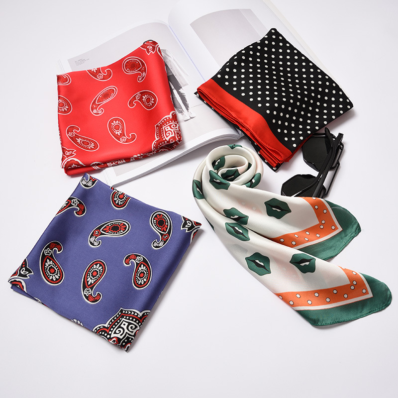70*70cm High Quality Small Square   Scarf   Female Silk   Scarves   Decorative Soft Fashion Lovely   Scarf   Elegant Head   Wrap   Neck Tie