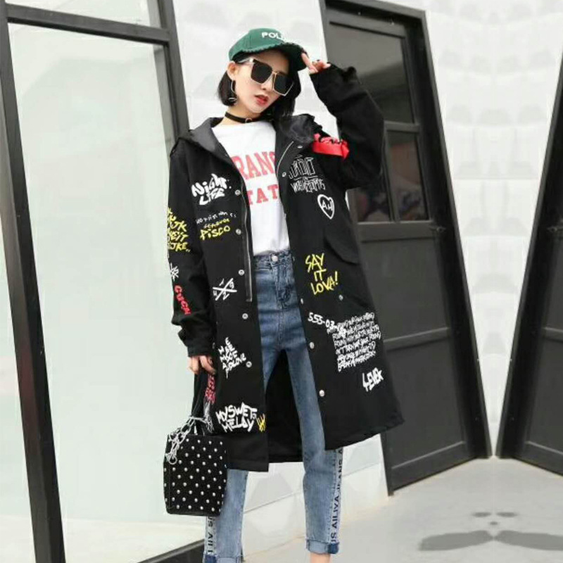 New Autumn Letter Printed Long Trench Coat For Women Hip Pop Style Single Breasted Patch Hooded Trench Female Dust Overcoats