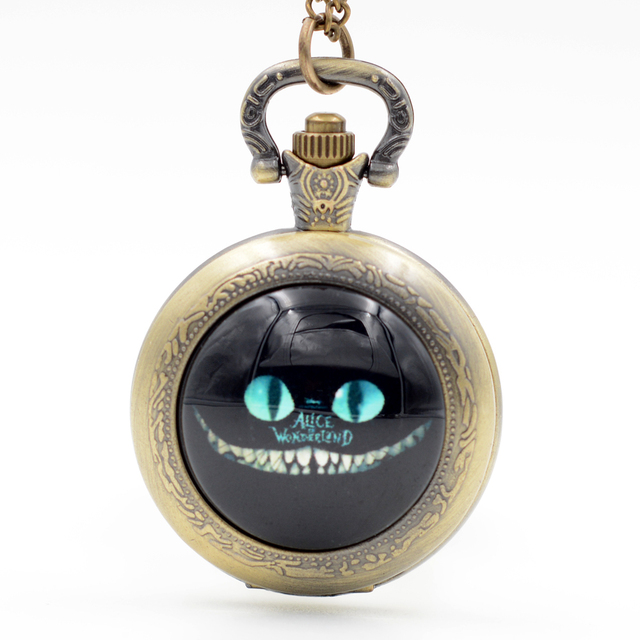 Alice in Wonderland Cheshire Cat 'Grin like a Cheshire Cat' Quartz Pocket Watch