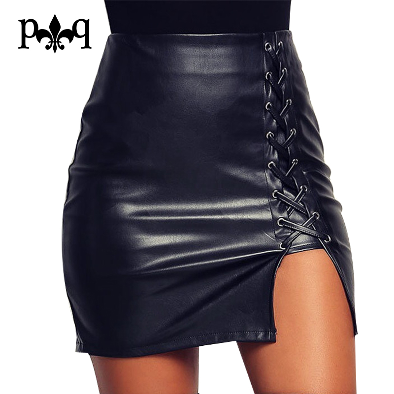 Nieuwe Kokerrok Dames Zwart Bodycon Bandage Rokken Zipper Lace Up Split Side Slit Party Club Wear Pu Leren Rok Dames