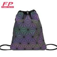 912df84a2b176 Nowy kobiety plecaki ze sznurkiem holograficzny plecak kobieta Luminous geometryczne  plecak dla nastoletnich dziewcząt torba szkolna