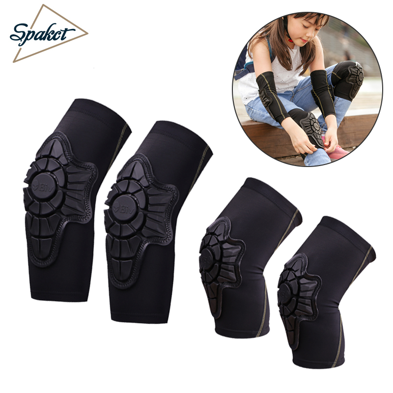 SPAKCT Cycling Children Elbow Pads Knee Pads Silicone Gel Elbow Protect Cover Sport Safety Pulley Bicycle Knee Pads Support Boys smith safety gear leopard elbow pads