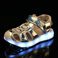 2018 Silver Summer Children Led Light Sandals USB charging kids LED luminous shoes Girls Boys Comfortable Beach Sandals 26-37