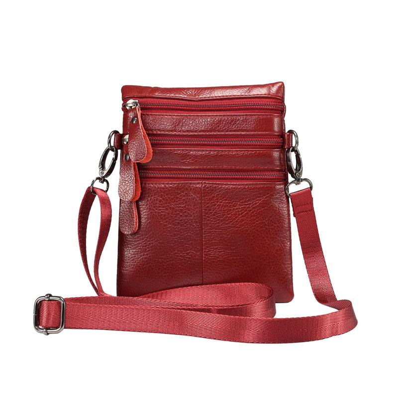 YIANG Thin Leather Bags Female Shoulder Bags Women Crossbody Bag 4 Zippers Fashion Mobile Phones Pouch High Quality Soft Touch