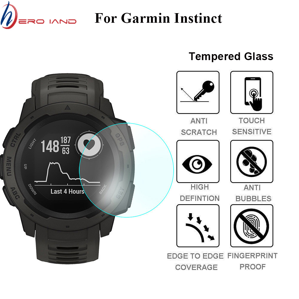 2pcs Full Screen Protector Film For Garmin Instinct Watch HD 9H 2.5D Tempered Protective Glass Explosion-proof Anti Scratch Film