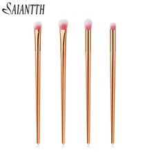 SAIANTTH 4pcs rose gold long tube makeup brushes set eyebrow