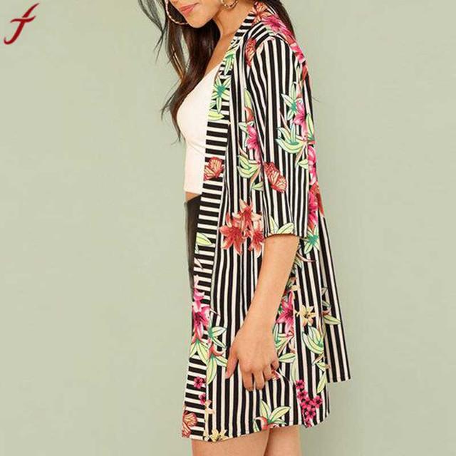 2018 Leaf Print Stripe  Shirts Women Half Sleeve Blouse Bohemian Chiffon Cover up Coat kimono Elegant For Women roupas femininas