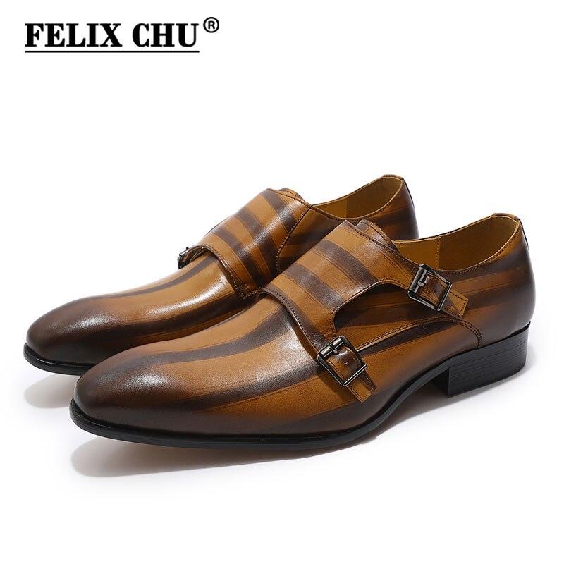 все цены на FELIX CHU Mens Genuine Leather Classic Oxford Dress Shoes Double Monk Strap Buckle Plain Toe Man Wedding Shoes Striped Pattern онлайн