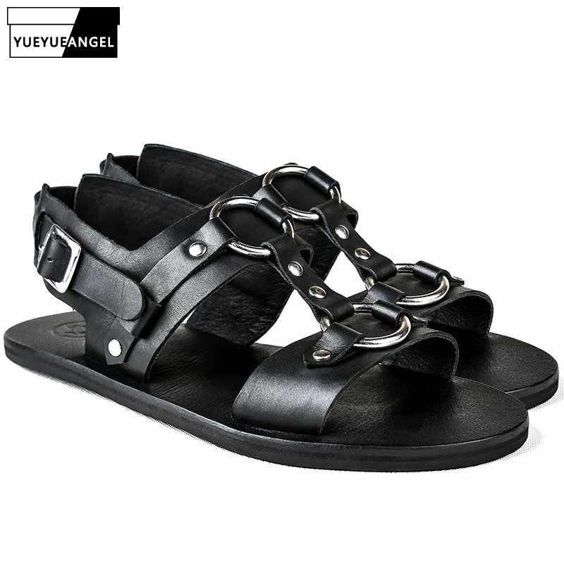 b25b4f57dd110 2019 New Designer Man Sandals Genuine Leather Shoes Beading Outside Casual  Buckle Strap Flats Men Streetwear