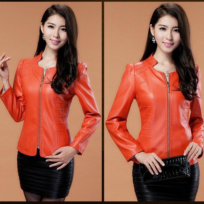 2017 nova Motocicleta jaquetas de couro mulher mulheres jaqueta de couro preto Curto plus size XXXL mulheres casaco outerwear menina de couro vermelho