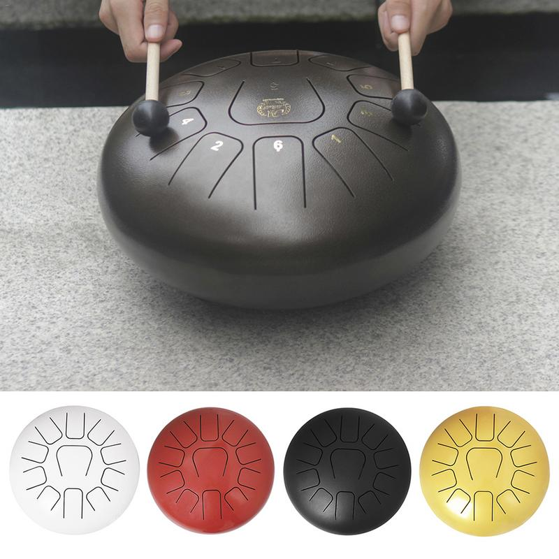 """10"""" / 12'' Steel Hand Pan Drums 11 Notes Tongue Drum with Free Bag + Mallets for Children Adults Percussion Instruments"""