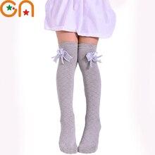 Girls Baby Cotton socks Children fashion Bow Solid wild High knee socks 3-12 yrs Spring / Summer high quality Kids clothing CN