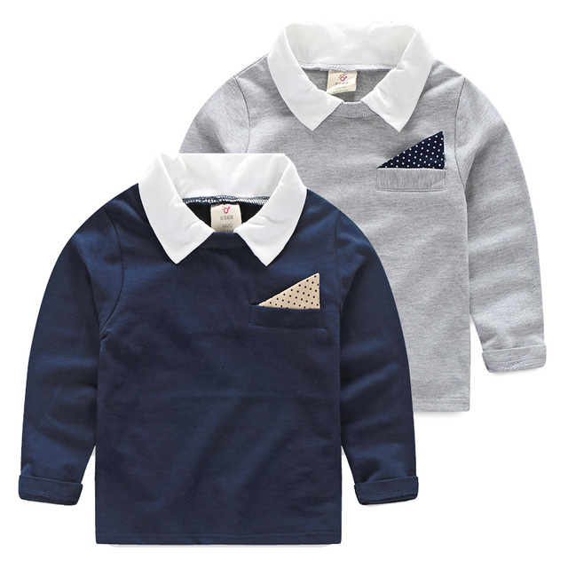 Littlespring весна осень топы мальчик сплошной отложным воротником с длинным рукавом детей одежда мальчики - лучших тройник