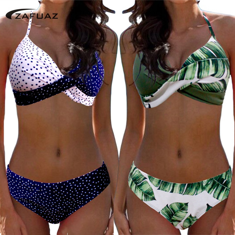 Купальн2019 Empurrar Para Cima do Biquíni Swimwear Mulheres Maiô Plus Size Swimwear Calções Patchwork Two-Pieces Natação Trajes de banho Tankini