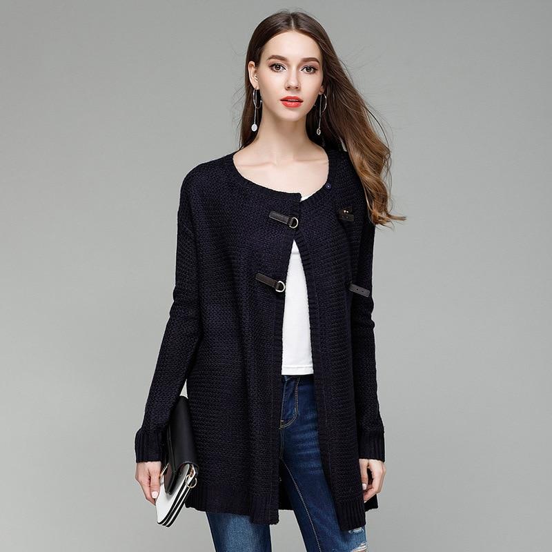 JOGTUME jesenski zimski pleteni džemper za žene Modna kožna kopča - Ženska odjeća - Foto 2