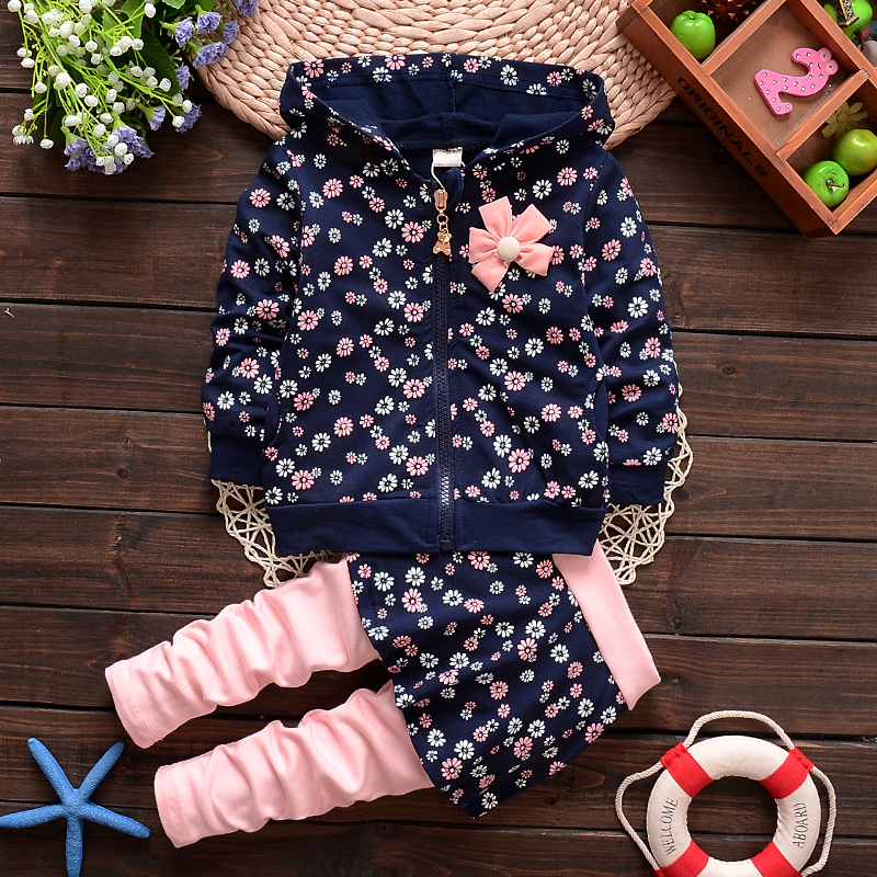 Autumn spring kids suit girl hoodies+skirt pant set 2 pieces children long sleeve flower clothes suit 4 colors