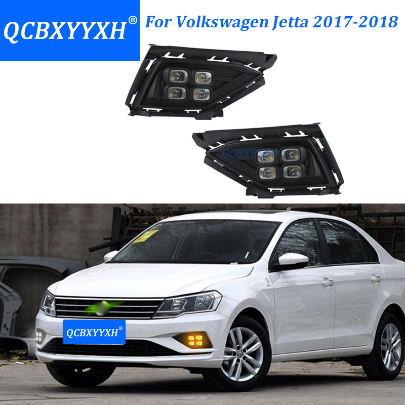 QCBXYYXH White Turn Yellow Signal Light Car-Styling Relay 12V LED Car Upgrade DRL Daytime Running Lights For VW Jetta 2017 2018 2pcs car led turn signals drl headlight canbus kit 1156 daytime running front light yellow white turn signal lamp