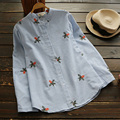 Plus Size Women's Casual Loose Long Sleeved Floral Embroidery Stand Collar Stripes Female Shirt Blouses Mori Girl Vestido U643