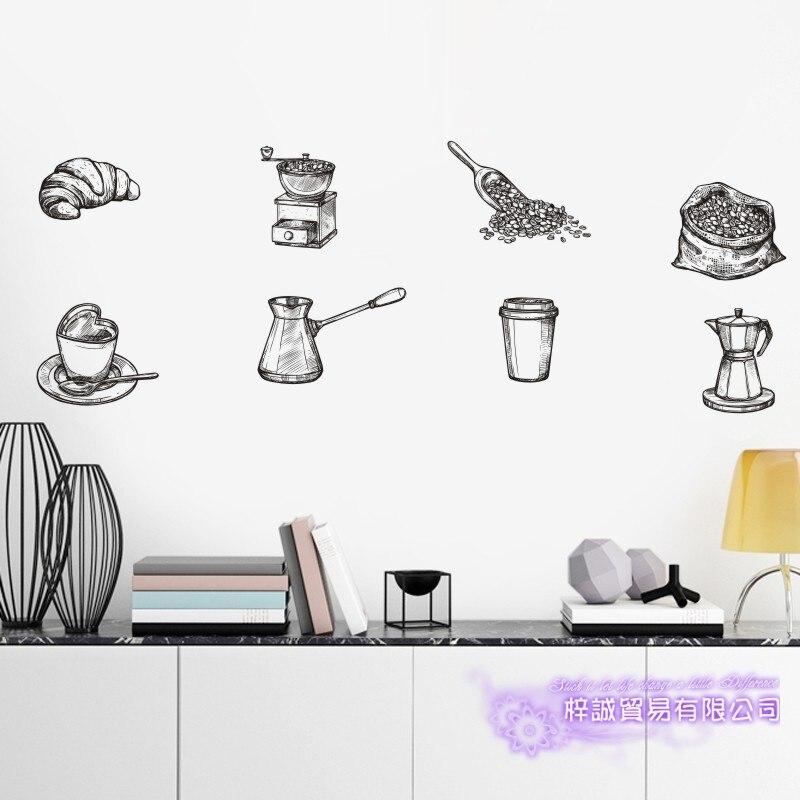 DCTAL café autocollant peint à la main boudin décalcomanie café boulangerie affiche vinyle Art stickers muraux Pegatina décor Mural café autocollant